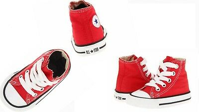 Converse All Star Hi Chucks Infant Toddler Red Canvas Shoe 7J232 FreeShipping