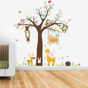 Zoo-Owls-Monkey-DIY-Wall-Stickers-Nursery-Kids-Room-Removable-Mural-Decal-Decor