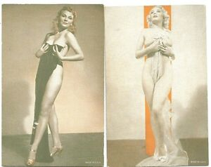 Lot of Eight Different Risqué Arcade Cards ~ Semi Nude Images 1940-50s