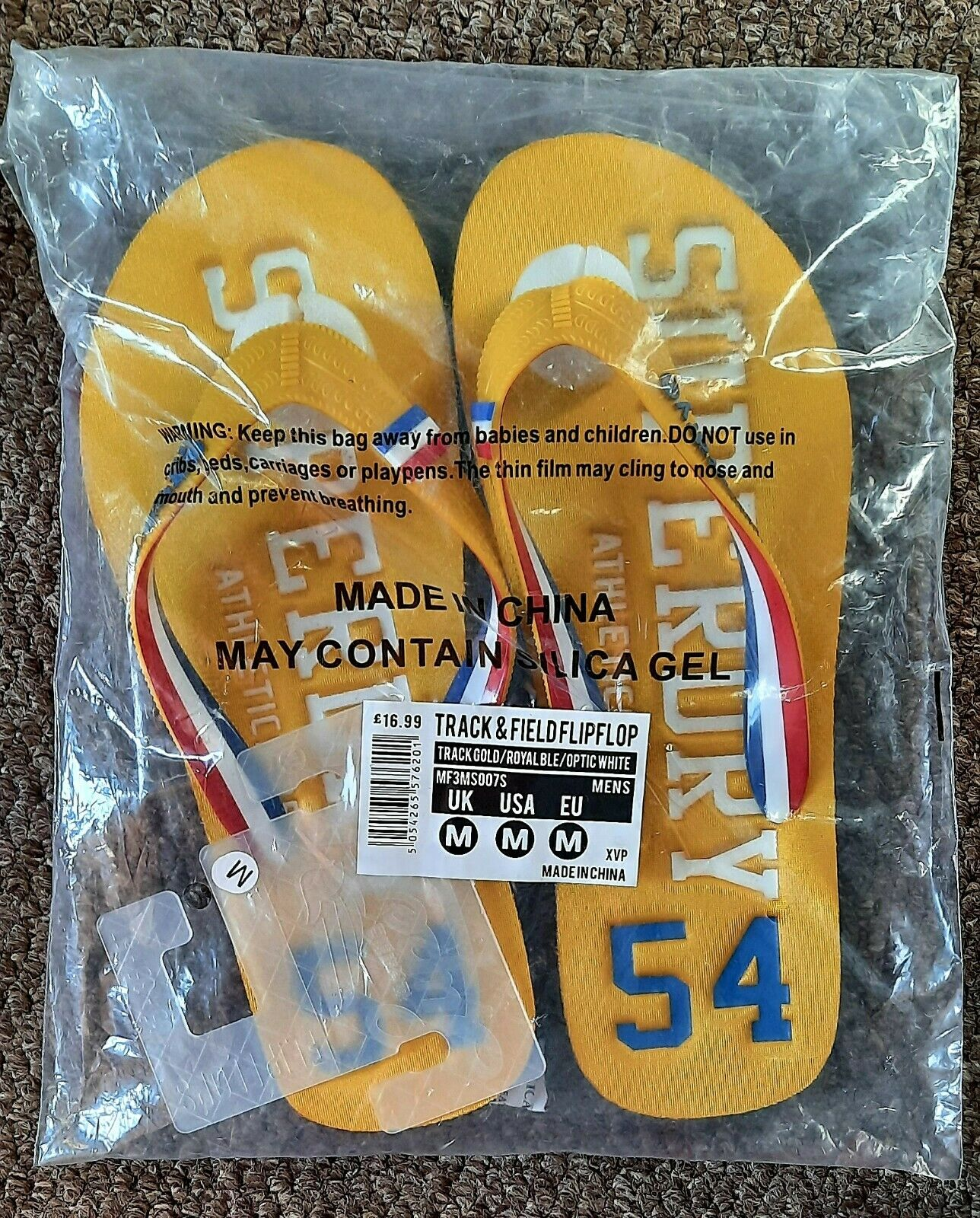Superdry Track and Field Flip Flops Yellow Multi Mens Size M (8-9) BRAND NEW