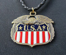 American Eagle Flag Bronze Pendant with Real Leather Necklace