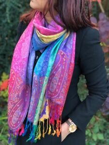 Ladies-Peacock-Feather-Bright-Rainbow-Multi-Colour-Paisley-Scarf-Pashmina-Shawl