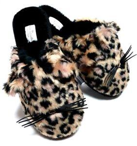 cc1492597aab Kate Spade Belindy Womans Leopard Print Cat Faux Fur Slippers US 6