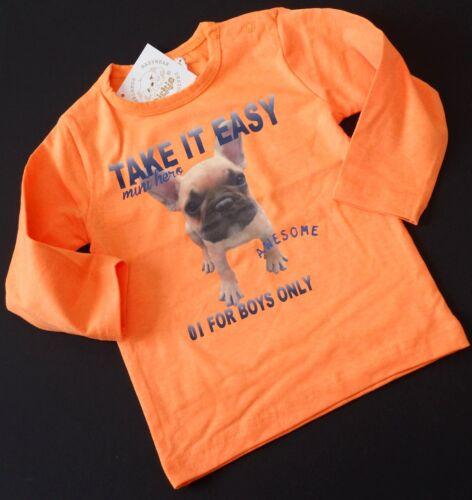 Dirkje Shirt Baby Jungen Langarm MINI HERO Bulldogge NEON Orange Gr 74 80 86 NeU