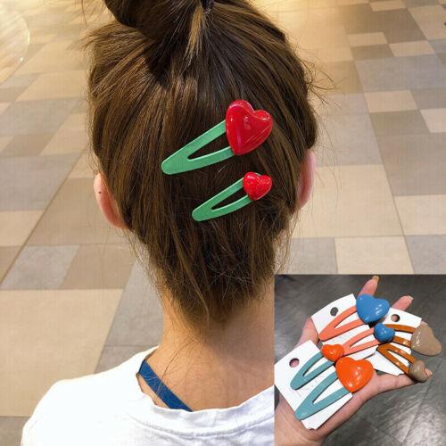 2Pcs Women Girls 6 Colors Heart Hair Clips Hair Pins Barrettes Hair Accessories