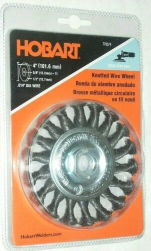 Hobart 770374 Knot Wire Wheel 4 x 5//8-11 .014 Wire 12500 RPM for Angle Grinder