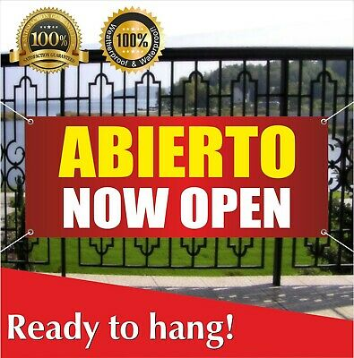 AHORA ABIERTO NOW OPEN Advertising Vinyl Banner Flag Sign Many Sizes
