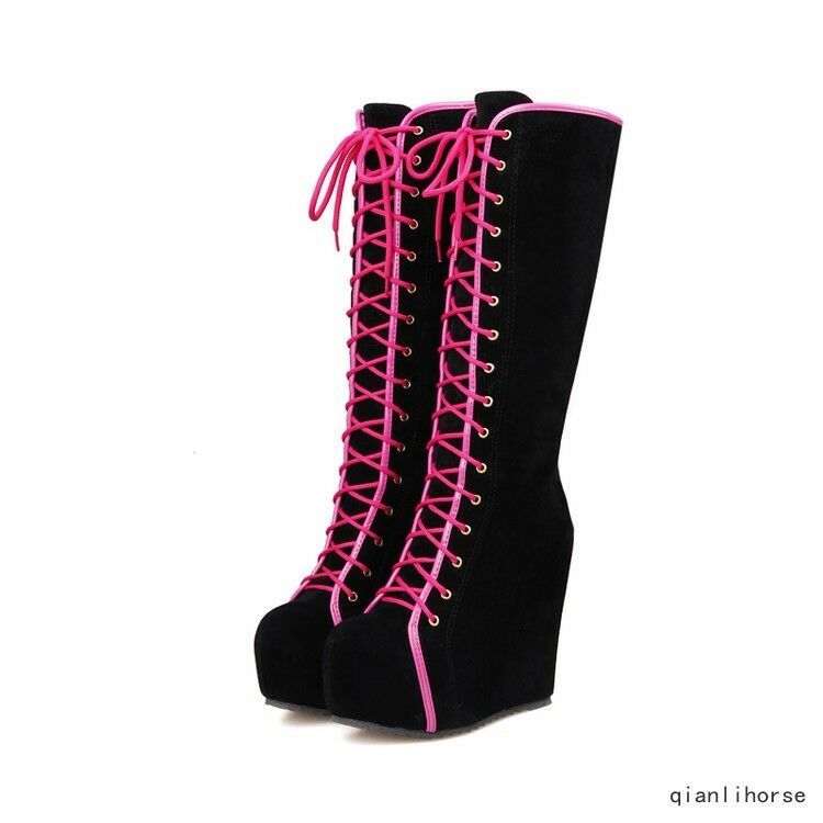 Women's Round Toe Hidden Heels Wedge Creepers Knee High Boots Lace Up Warm shoes