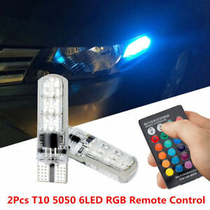 2PCS-Auto-T10-6LED-RGB-5050SMD-Car-Wedge-Side-Light-Lamp-W-Remote-Controller