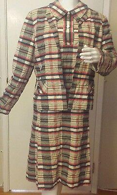 I. Magnin, Linen, Multi-color, Striped, 2-Piece (Dress/Jacket) Suit (Size 14)