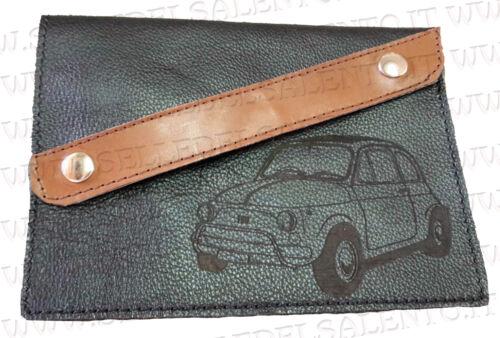 Portadocumenti portalibretto pelle auto Fiat Cinquecento 500 vintage prima serie