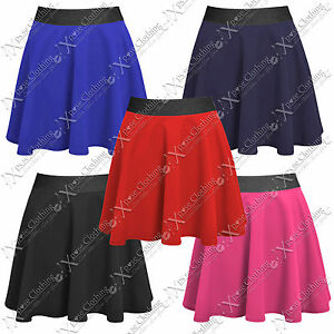 NEW-LADIES-STRETCH-WAIST-SKATER-SKIRT-WOMENS-MINI-PARTY-PLAIN-FLARED-SKIRTS-WORK