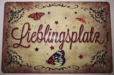 LIEBLINGSPLATZ , Blechschild mit PRÄGUNG , 20 x 30 cm