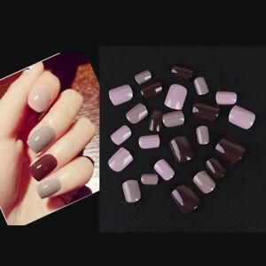 24pcsset Beauty Full Nail Tip Short Smooth False Nails Pure Color