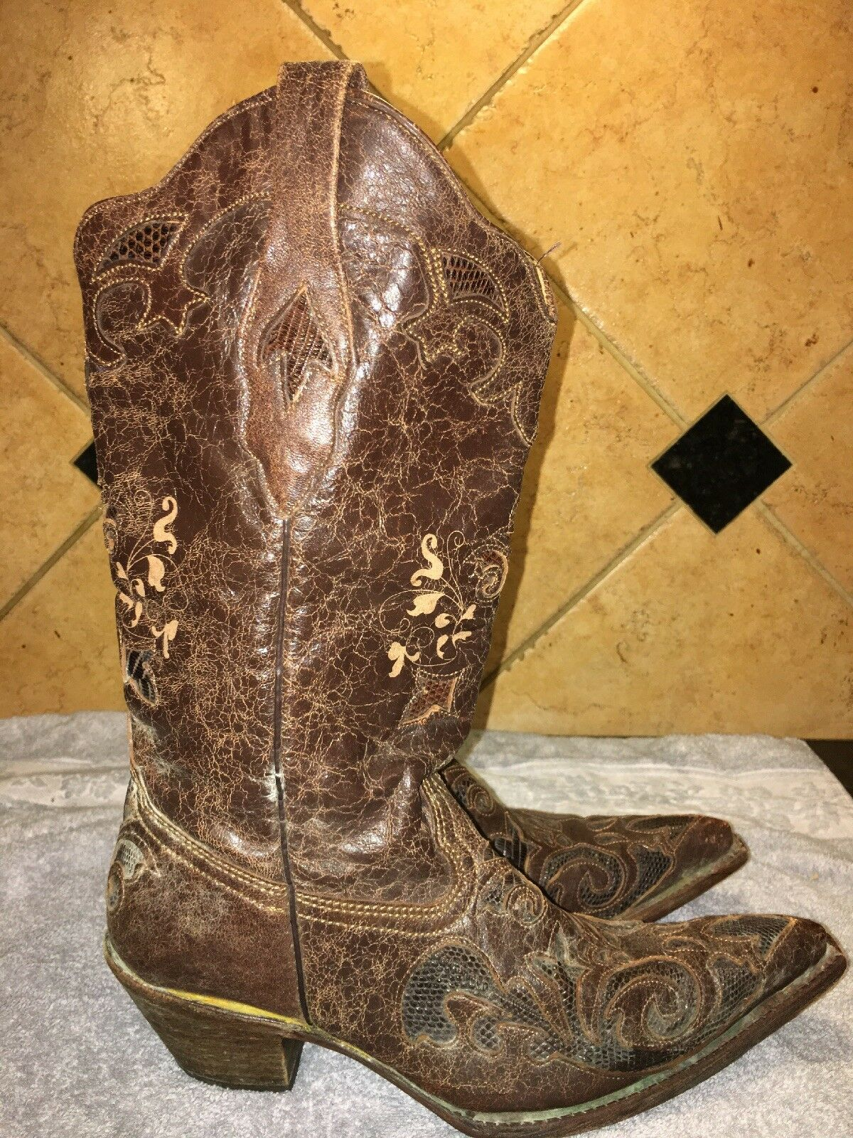 Corral marron lézard en cuir Cowboy Western bottes taille 9 1 2 9.5 M