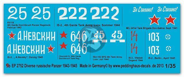 8 tanks 2754 Peddinghaus 1//72 Various Russian Tank Markings 1943-1945 WWII