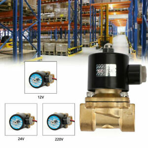 12V-24V-220V-Electric-Solenoid-Valve-Water-Air-3-4-034-Brass-Normal-Closed-N-C-New