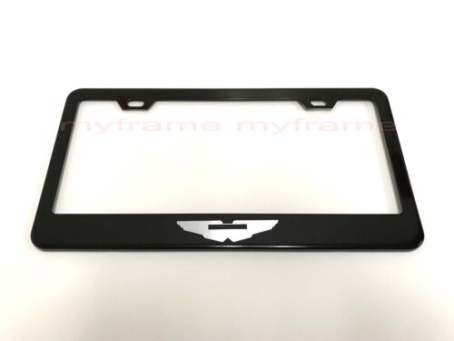 AstonMartin *LOGO*  BLACK Metal License Plate Frame Tag Holder with Caps