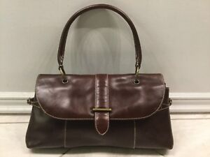 Eddie-Bauer-Handbag-Purse-Burgundy-Brown-Cow-Leather-Fold-Over-Flap-H51