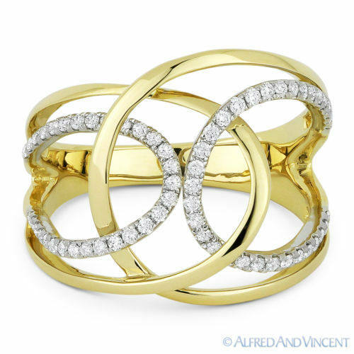 0.31 ct Round Cut Diamond Right-Hand Overlap Loop Wrap Ring in 14k Yellow gold