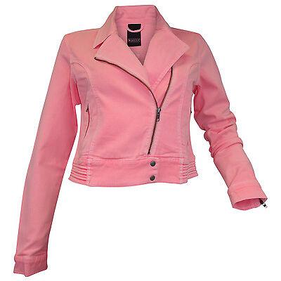 Jeansjacke Gr. 34 36 38 40 neon rosa used Kurzjacke coole Biker Jacke