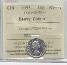 **1955**, ICCS  Graded Canadian,  10  Cent, **MS-65 Heavy Cameo**