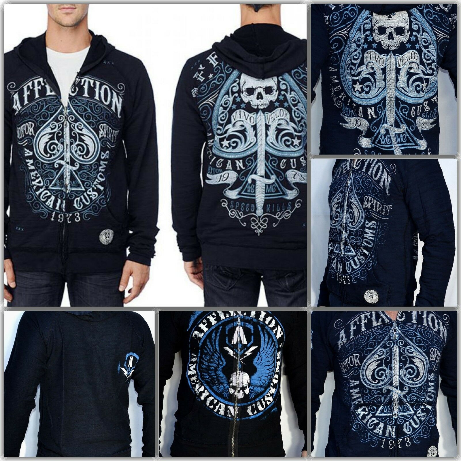 Affliction Death Spade Reversible Hoodie   A5941 NWT. Free Shipping