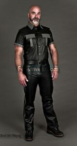 Leather Uniform Patrol Motorcycle Pants With Color Stripe