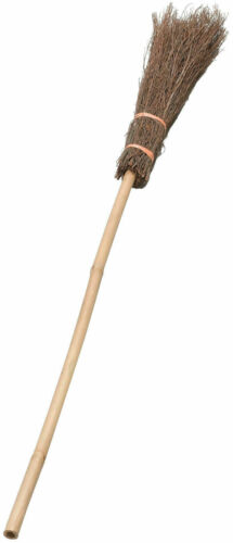 Witch Broom Stick Wooden Style Halloween Horror Fancy Dress Party Decoration
