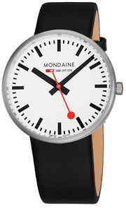 Mondaine Men's Giant Leather Strap BackLight Technology Quartz Watch MSX4211BLB