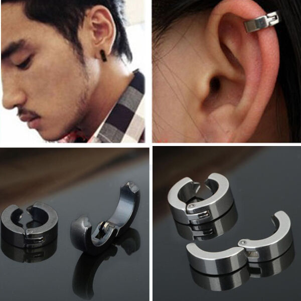 4ca1a8115dc6c 1 Pair Men Stainless Steel Ear Stud Cuff Hoop Non-piercing Clip-on Earrings  Punk