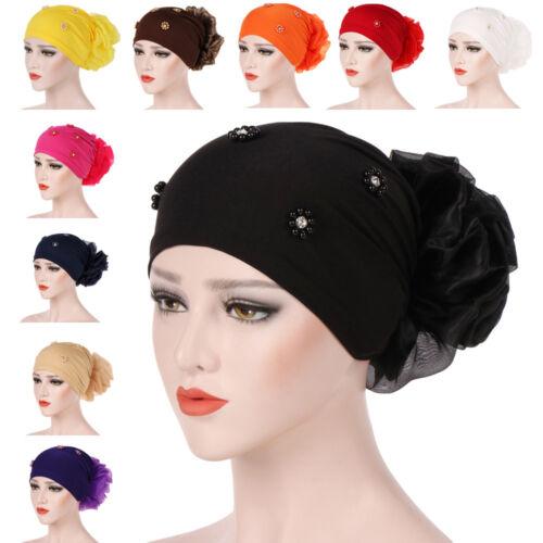 New Women Hair Loss Head Scarf Turban Cap Flower Muslim Cancer Chemo Hat Cover