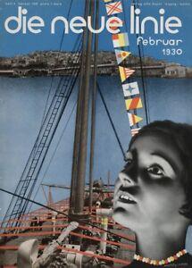 "February LASZLO MOHOLY-NAGY /""Die neue Linie 1930/"" Reproduction Bauhaus Poster"