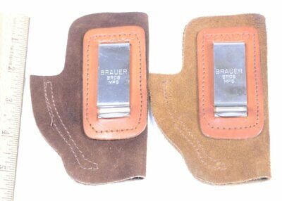 Faithful Lot Of Brauer Bros Brown Leather Hand Gun Holster W/ Belt Clip Eeaoo Strong Packing 2