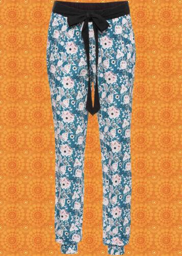 G186 ✪ Indian Gipsy Boho 60er 70er Années Hippie Pantalon Festival fleurs Petrol T 50