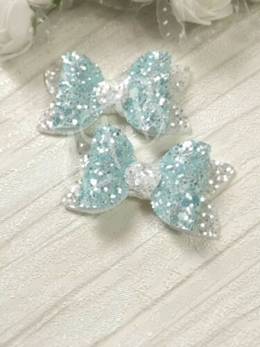 """2x Frozen Inspired Blue White 2/"""" Fringe Pigtails Hair Bow Clips Baby Toddler"""