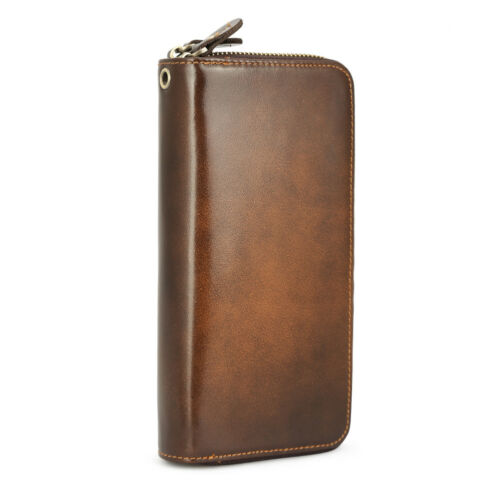 Vintage Real Leather Men Clutch Long Wallet Money Clip Coin Card Checkbook Purse