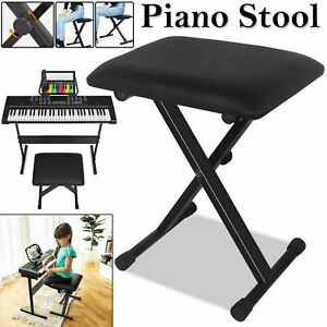 Height-Adjustable-Pro-X-Frame-Music-Keyboar-Piano-Stool-Bench-Stand-Cushion-Seat