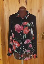 LAURA ASHLEY black red pink roses floral chiffon long sleeve blouse shirt top 10