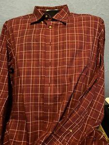 LL-Bean-Button-Down-Shirt-Men-XXL-Reg-RED-STRIPED-100-Cotton-Long-Sleeve