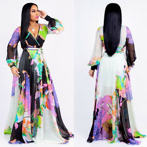 Long sleeve chiffon maxi dress ebay