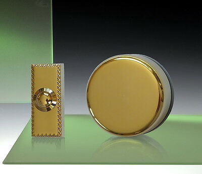 Wind Up Mechanical Doorbell, Brass, brass Push - Model 850X
