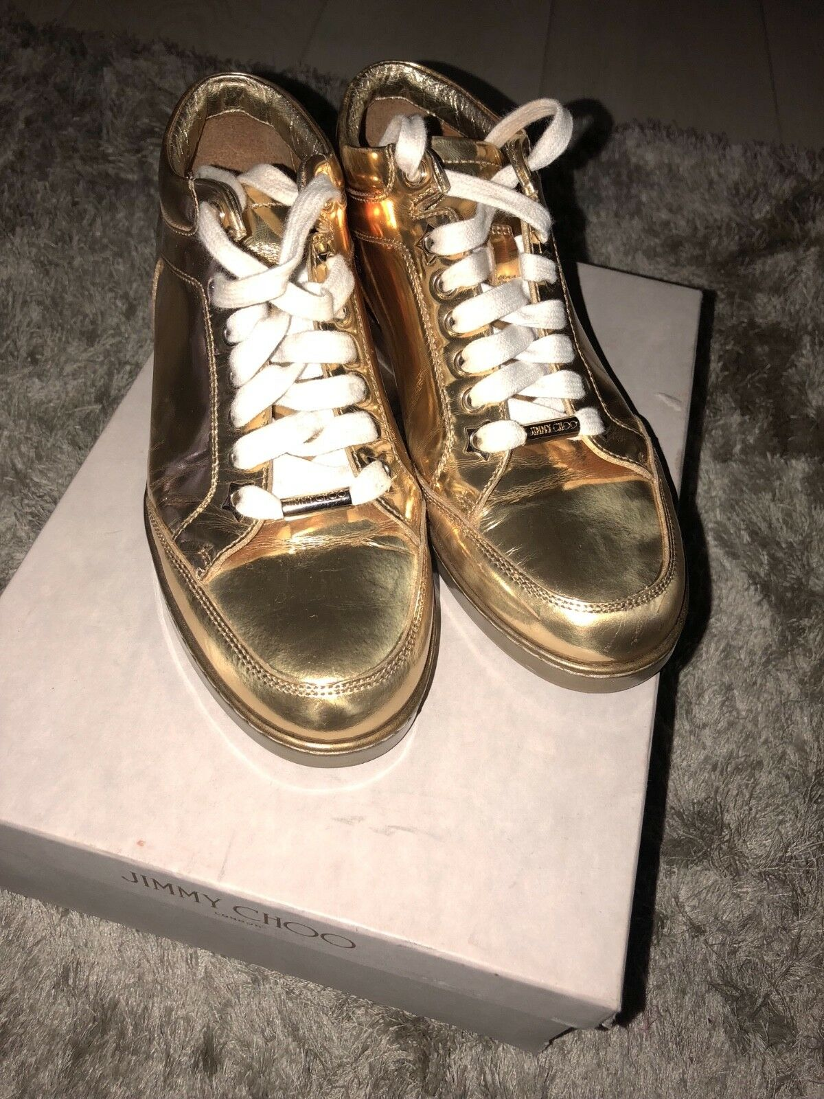 gold, womens Jimmy Choo trainers, size 3.5 worn 5 times