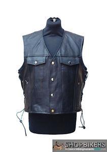 best service 08062 44e92 Dettagli su Gilet Uomo Warrior Pelle Nero Laccetti Leather Vest Black Biker  Moto TG. M