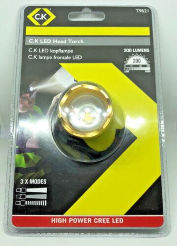 CK Tools LED Headlamp 200 Lumens High Power Torch CREE Headllight Pro T9621