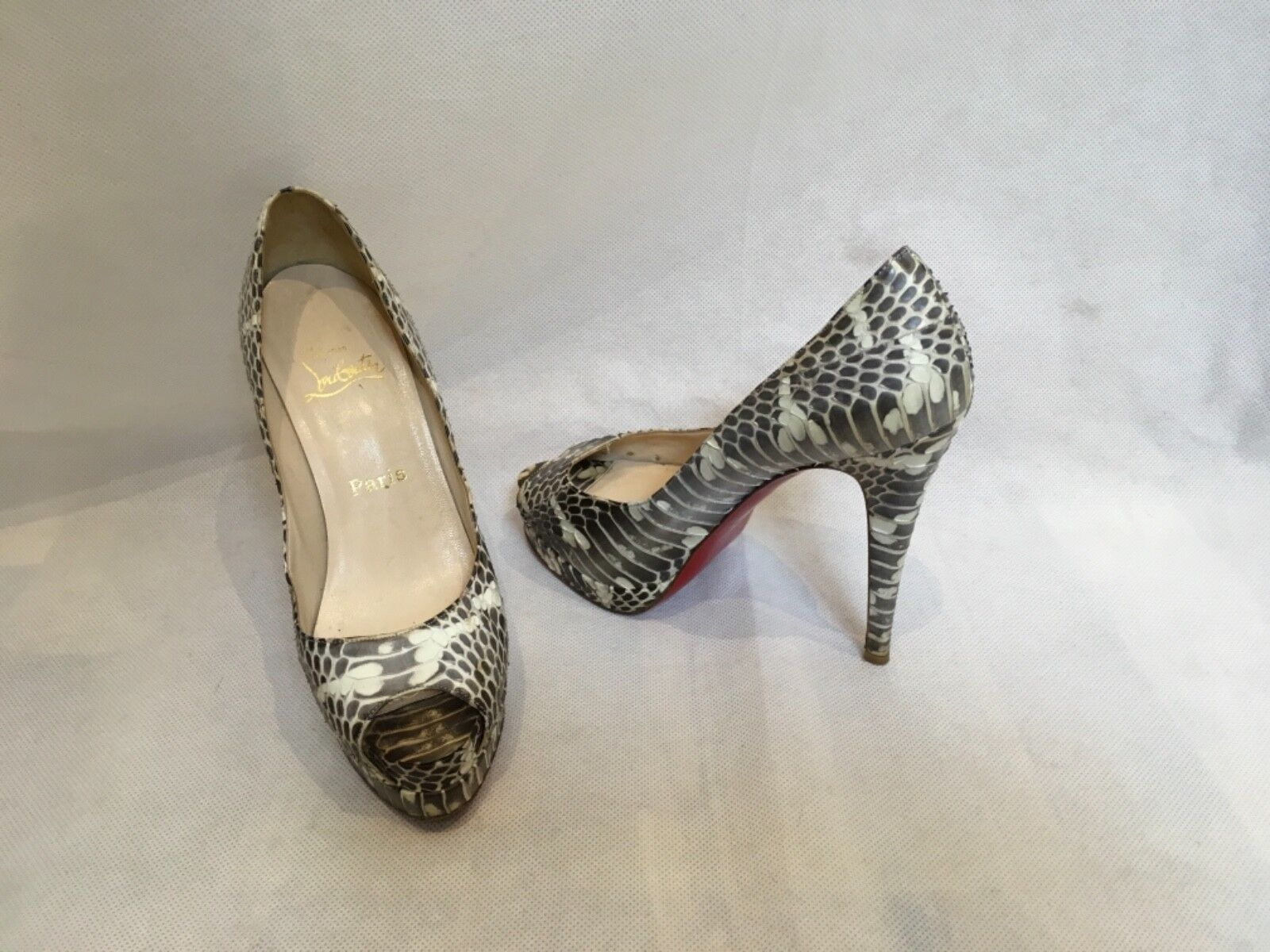 Christian Louboutin Python Bout Ouvert Plateforme Taille Escarpins Taille Plateforme IT37 UK4 US6 6b84e2
