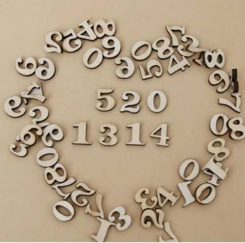 Wooden NUMBERS Mixed Pack Craft Wedding Card Making Number Craft 50//100//200