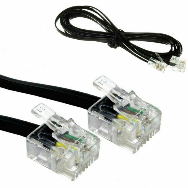 Bluecharge Direct 10m LONG RJ11 To RJ11 Cable Lead 4 Pin ADSL Router Modem Phone 6p4c BLACK