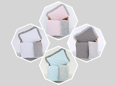 Dimple Minky Cotton Set Quilt /& Pillow Blanket Pram Cot Car Playmat 2-sided