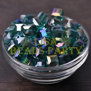 New-10pcs-10mm-Cube-Square-Crystal-Glass-Loose-Spacer-Beads-Peacock-Green-AB